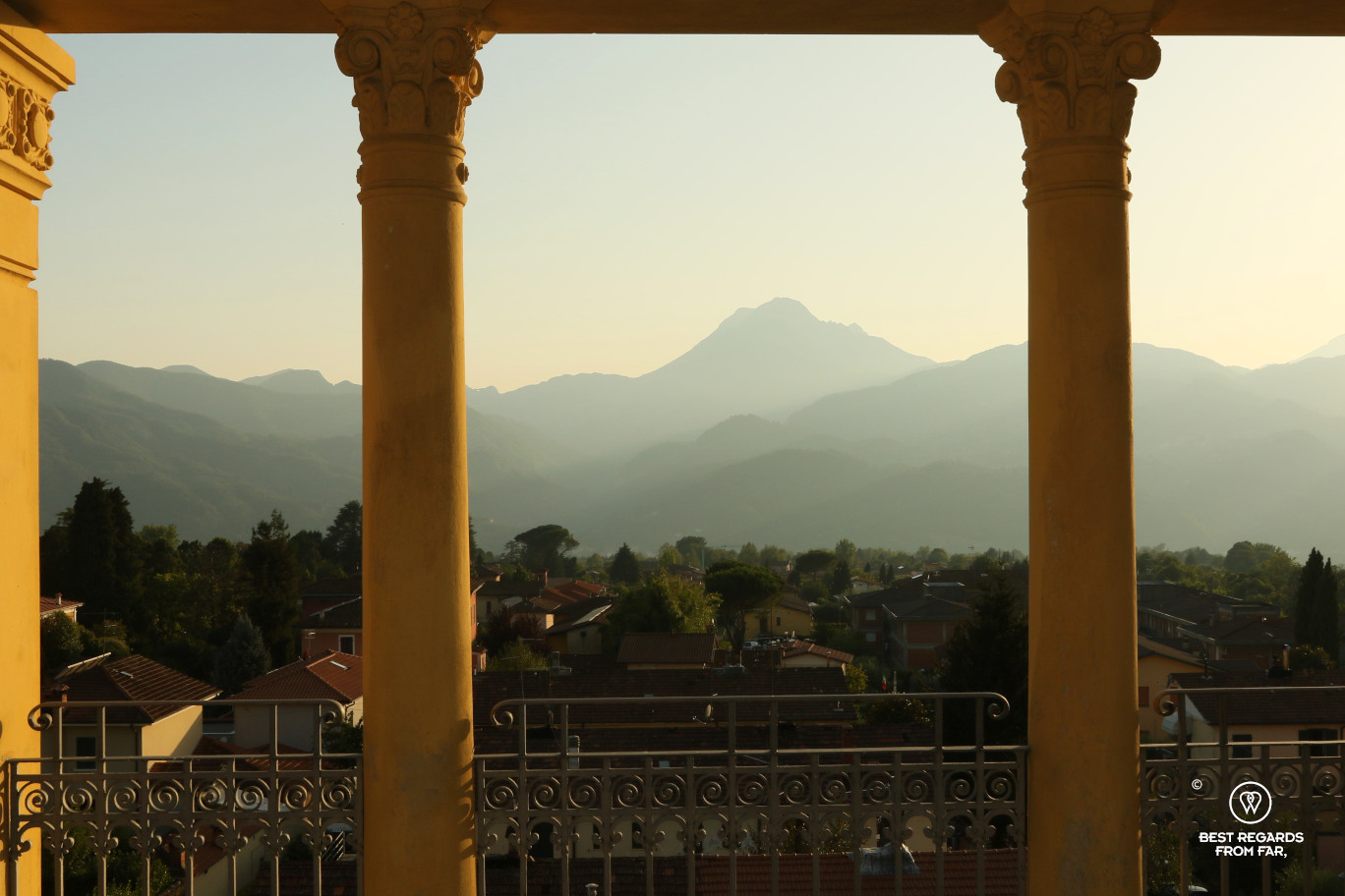 The view from Barga on the surrounding mountains at sunset, Italy.