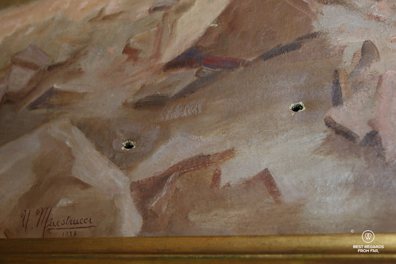 Bullet holes reminding WWII in the breakfast room at Villa Moorings in Barga, Italy!