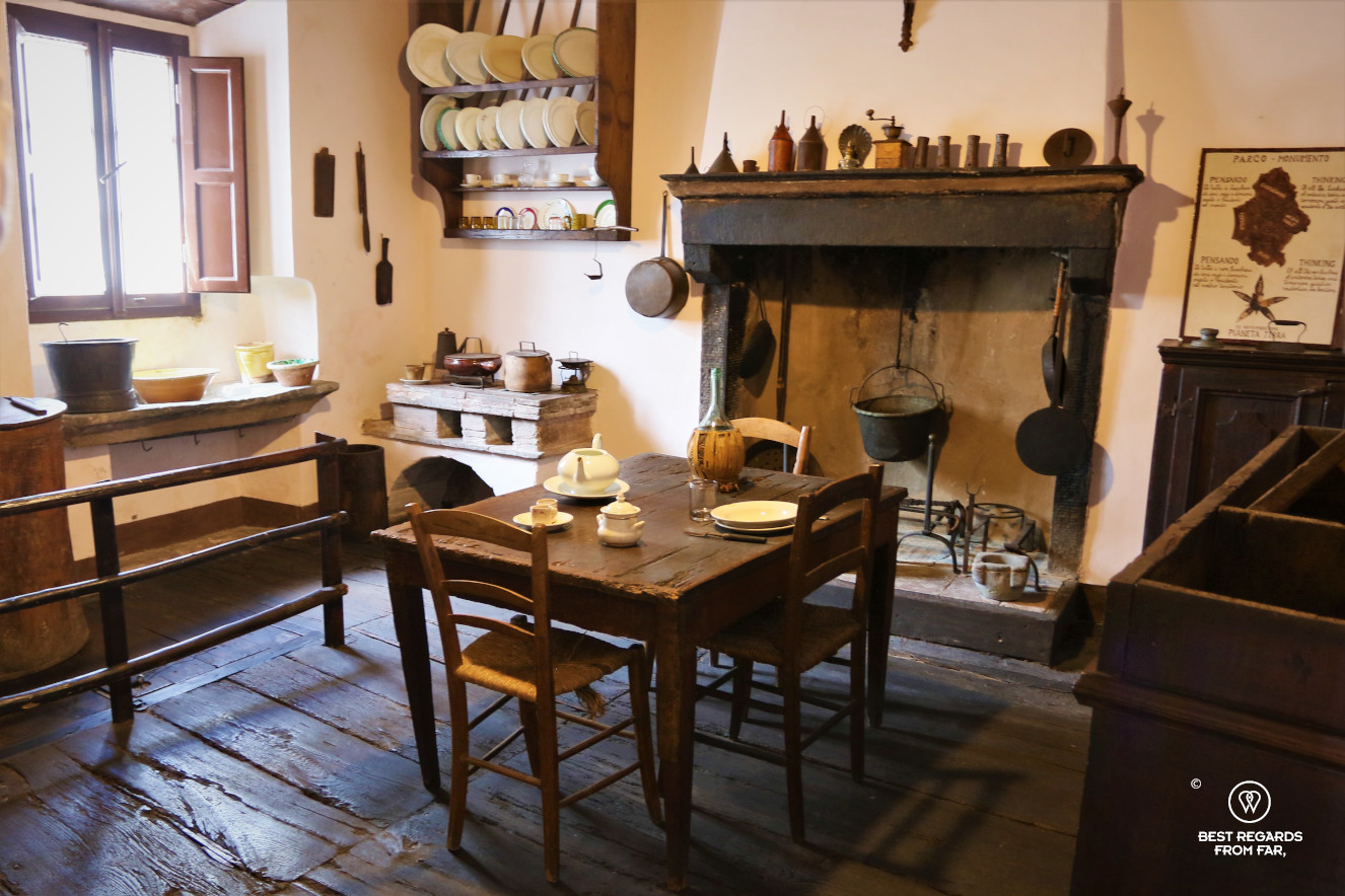 The kitchen in Puccini family home in the small village of Celle dei Puccini, Italy