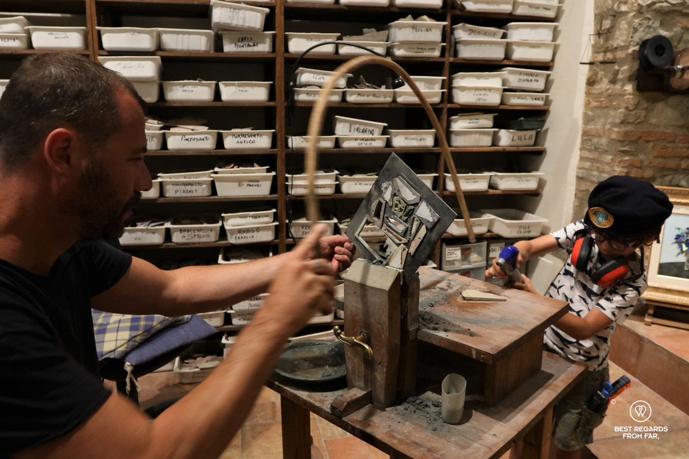 The crafts of Florence: comesso fiorentino: precious stones cut by a craftsman and his son.