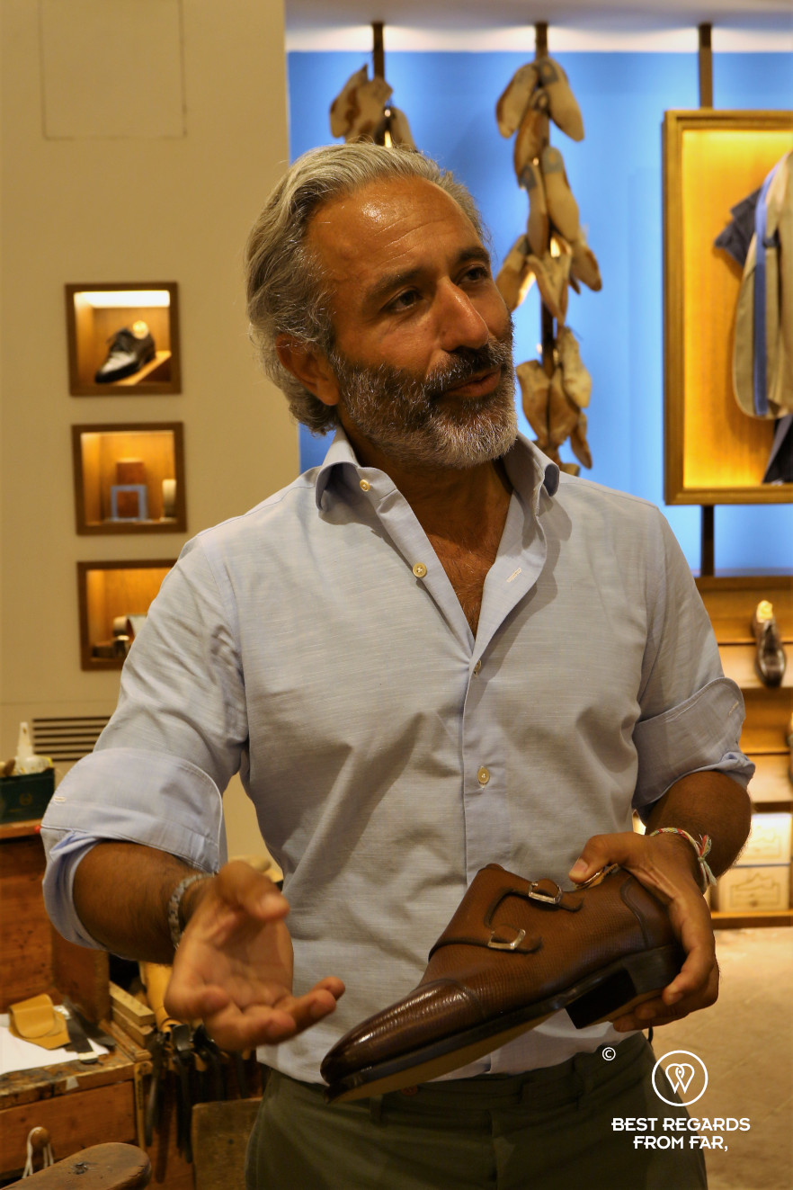 The crafts of Florence: Tommaso Melani, CEO of Stefano Bemer, explaining the leather shoe-making process.
