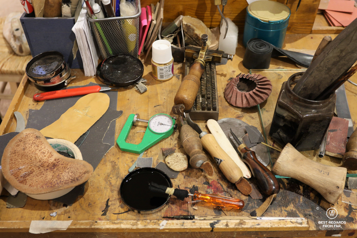 The crafts of Florence: a leather workshop.