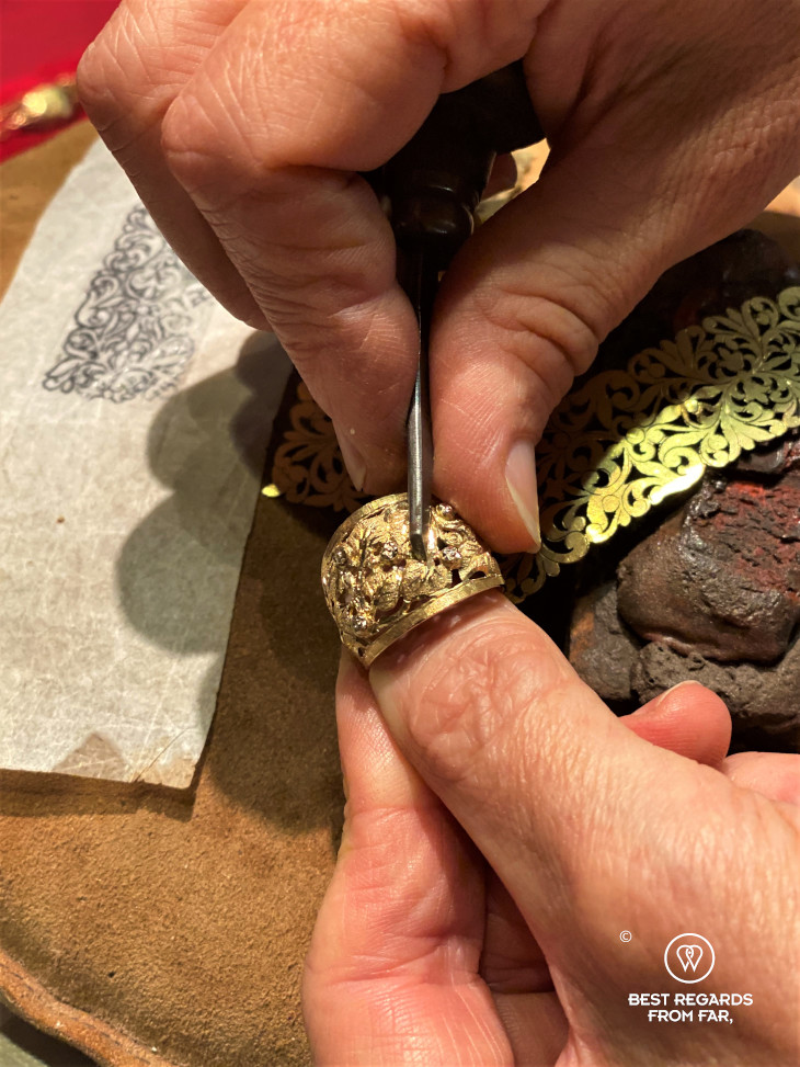 The crafts of Florence: goldsmith making a pice of jewellery.