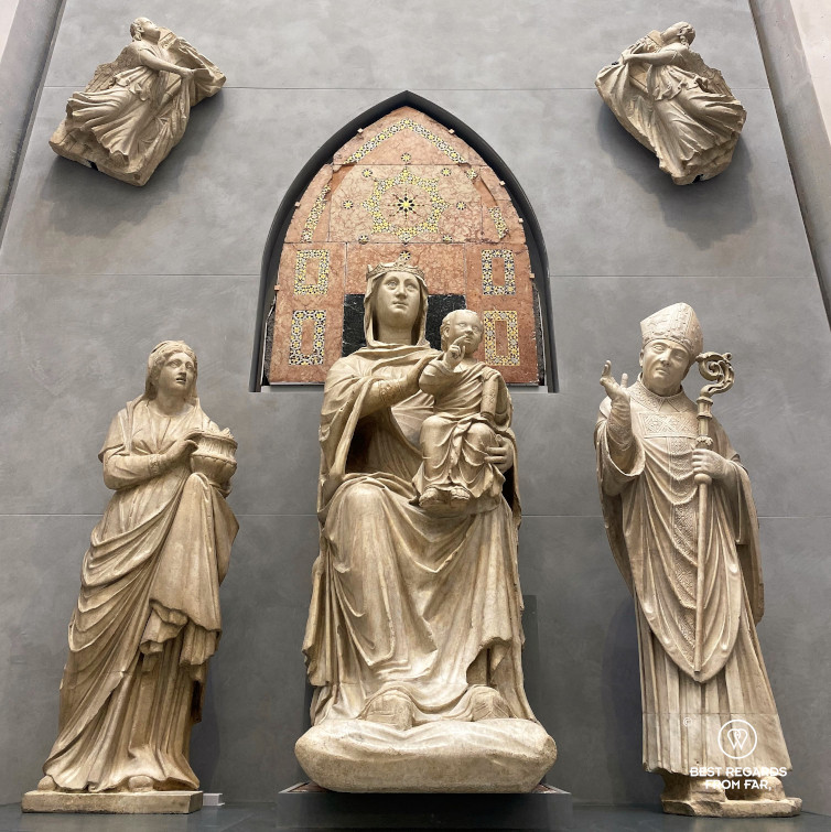 Sculpture of Mary in-Majesty (Madonna with glass eyes) by Arnolfo, The Duomo Museum, Florence, Italy