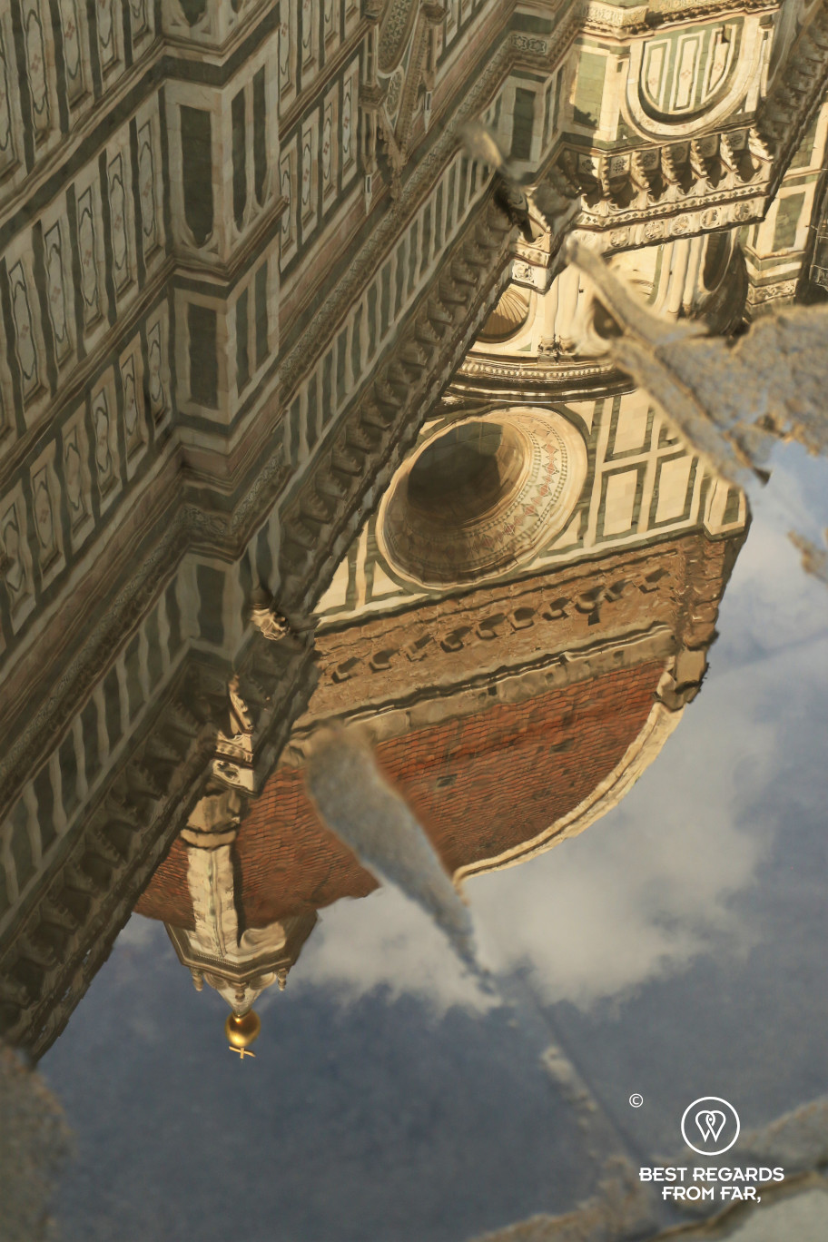 Reflection of the dome of the cathedral of Florence at sunset
