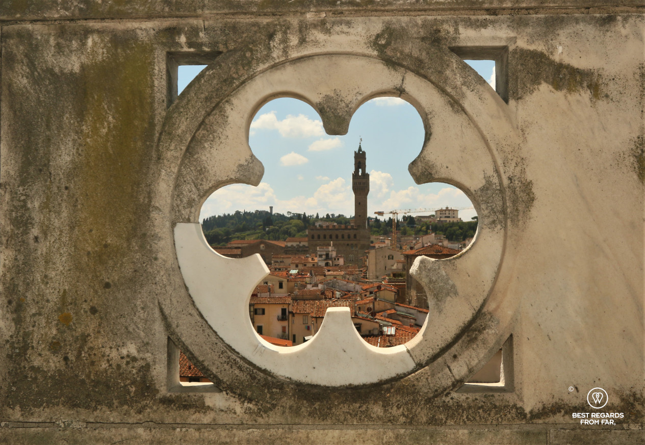 View on Florence's Palazzo Vecchio from the terraces of the Duomo cathedral, Italy