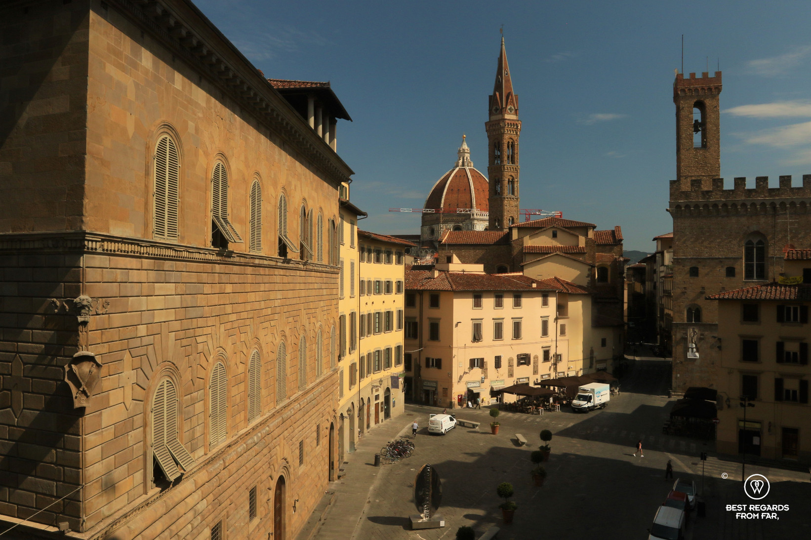View from the Hotel Bernini Palace on Da Vinci's vantage point and the Bargello museum, Florence, Italy