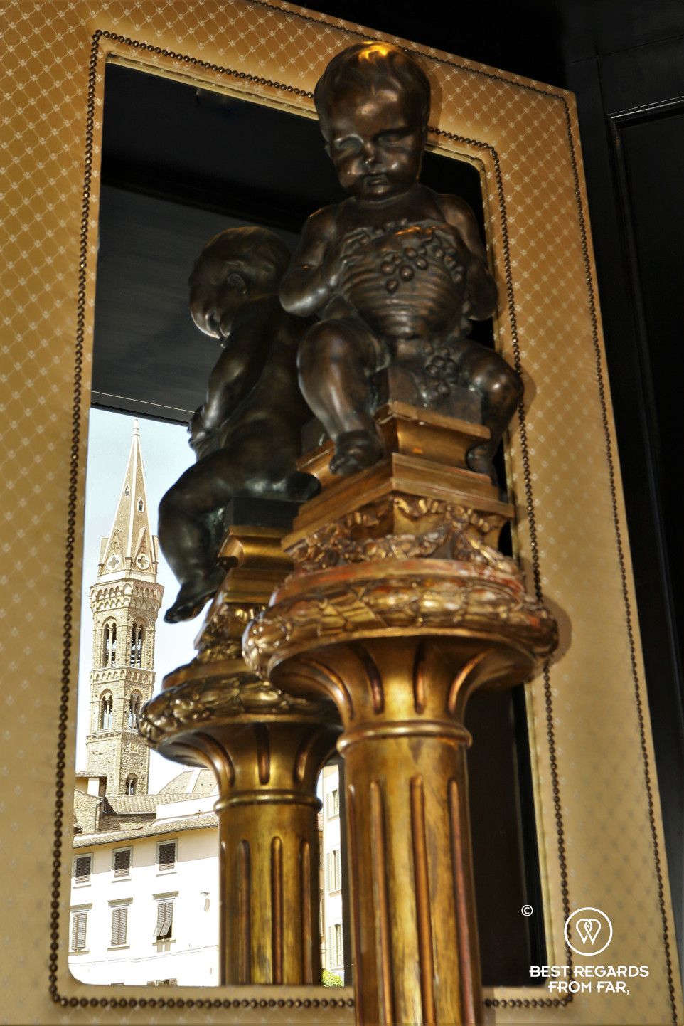Detail of the Hotel Bernini Palace, Florence, Italy