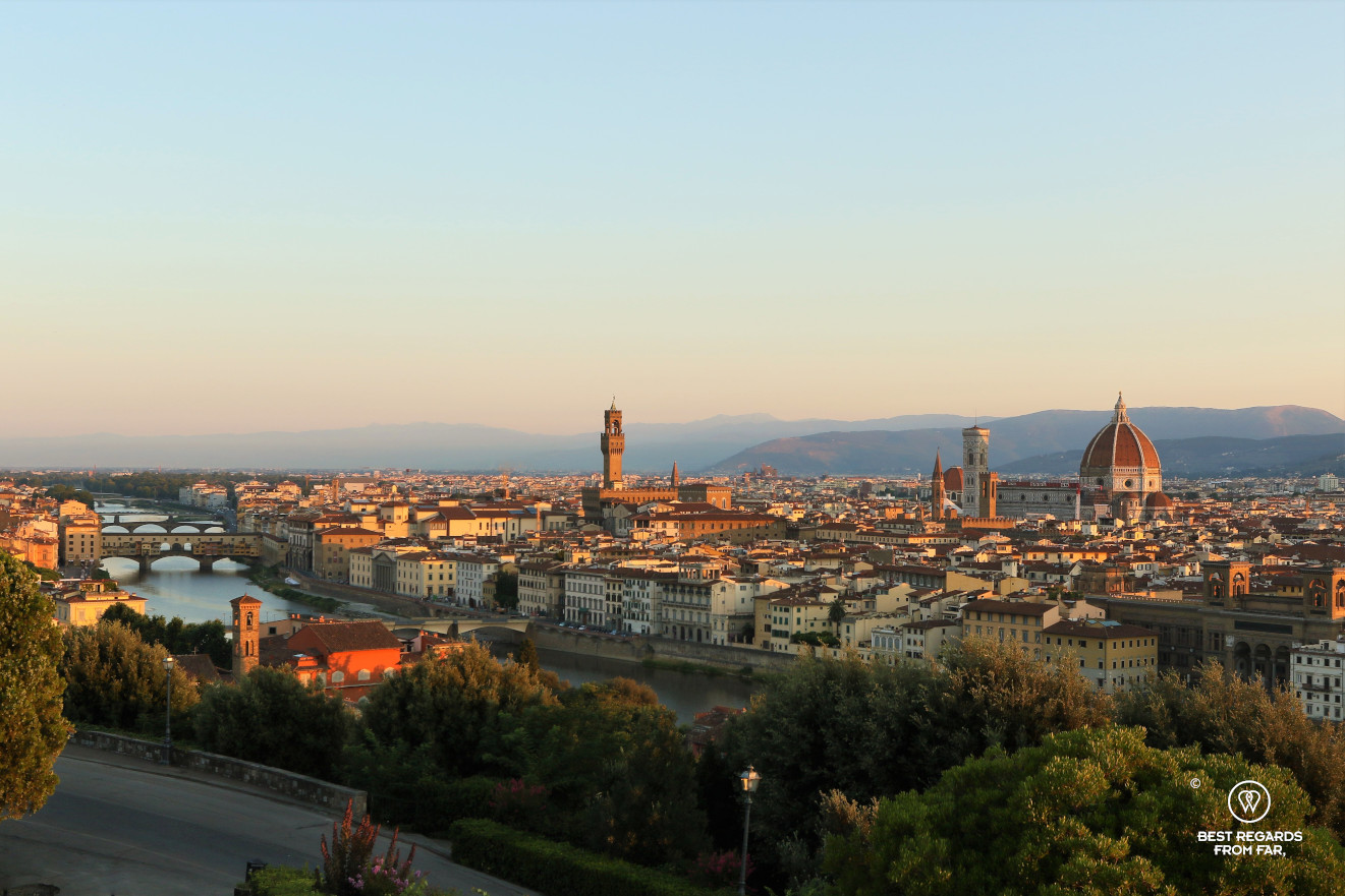 Sunrise on Florence, Italy, with the Arno River, Palazzo Vecchio and Duomo.