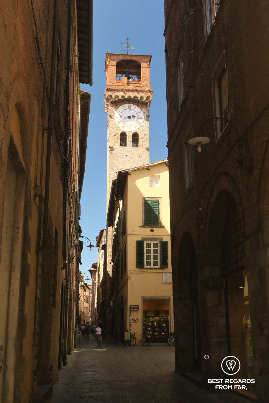 The clock tower of Lucca, Italy