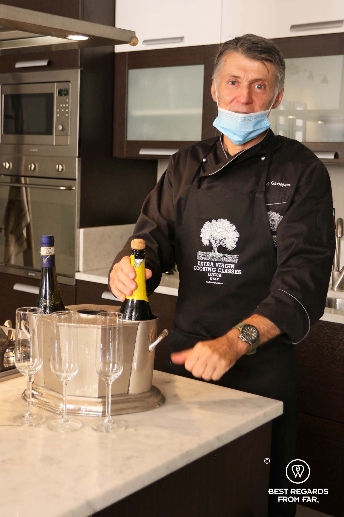 Chef Giuseppe Mazzocchi in his kitchen of Extra Virgin Cooking Classes, Lucca, Italy