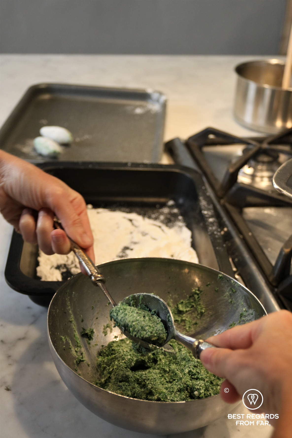 Shaping ricotta and spinach gnudis