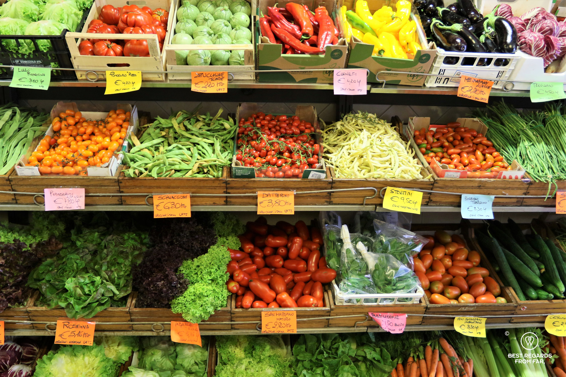 Colourful vegetables in a green grocer's in Italy