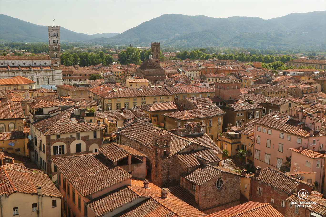 View on Lucca from the Guinigi tower, Lucca, Italy