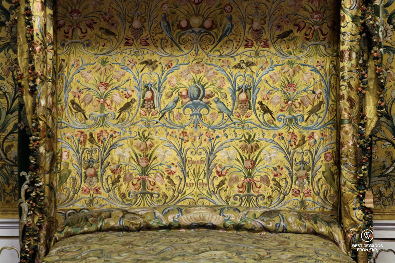 Yellow embroidered satin in the Palazzo Mansi, Lucca, Italy