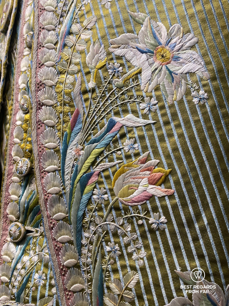 Detail of a silk outfist in the Palazzo Mansi, Lucca, Italy
