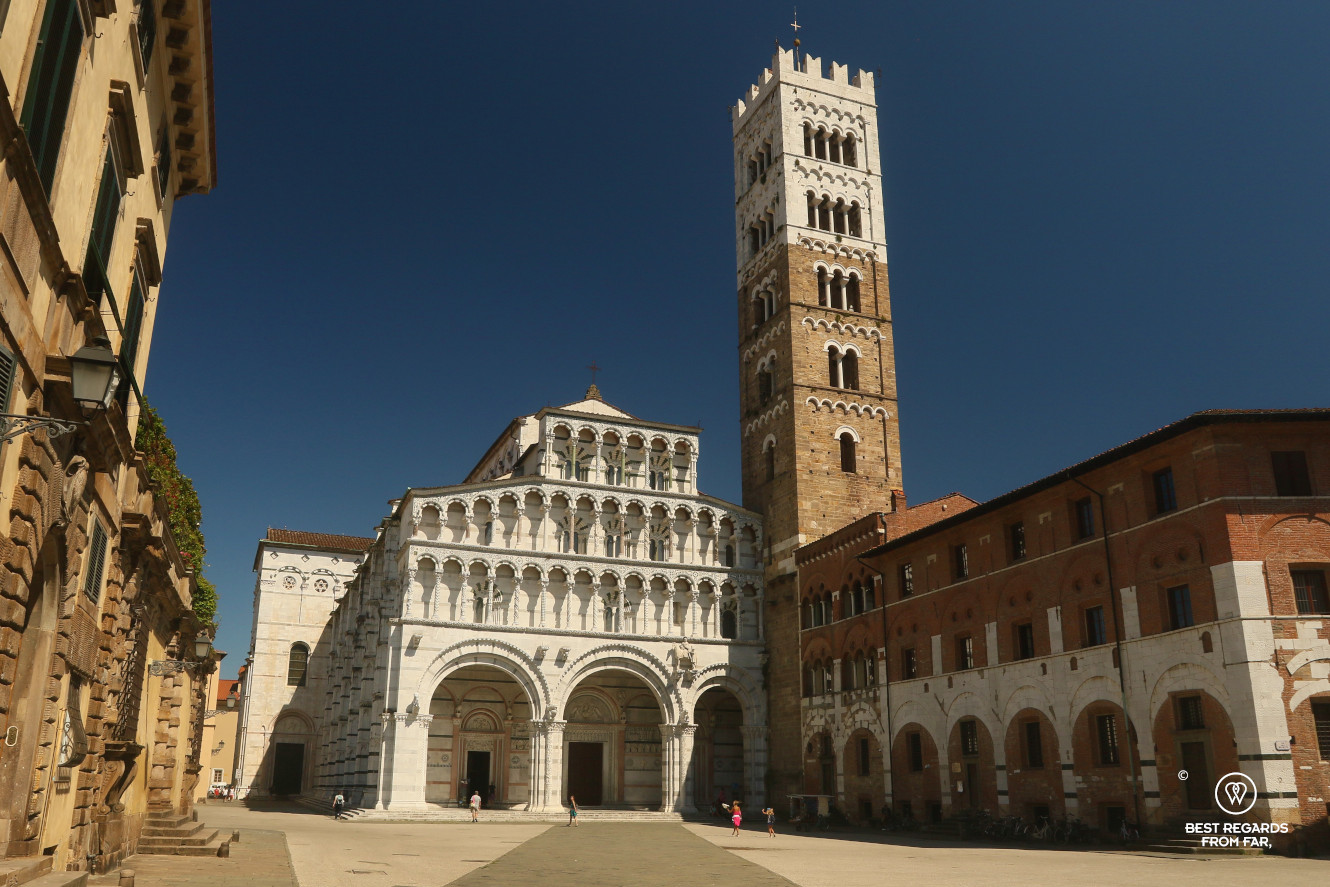 White marble Saint Martin Cathedral in Lucca, Italy