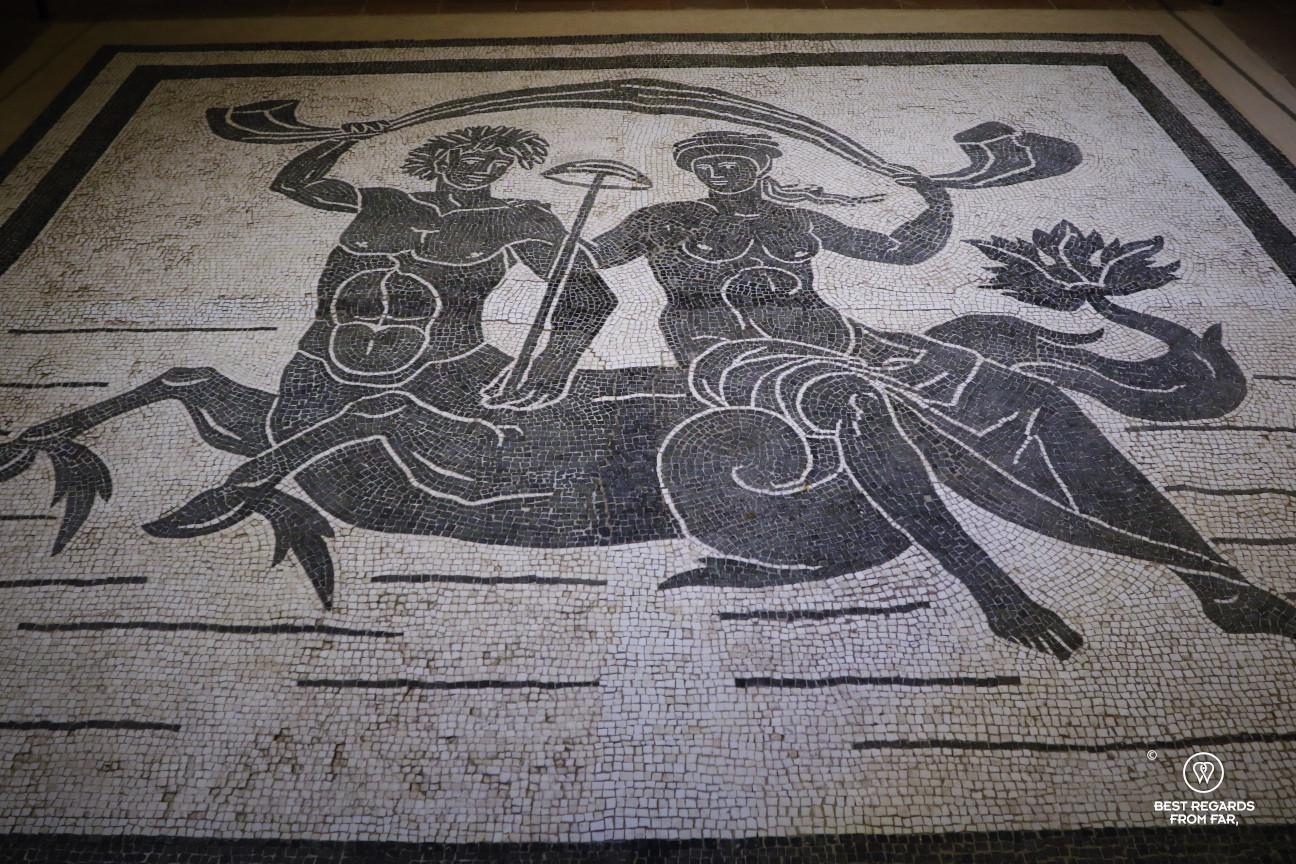 Roman mosaic in the Villa Guinigi, Lucca, Italy