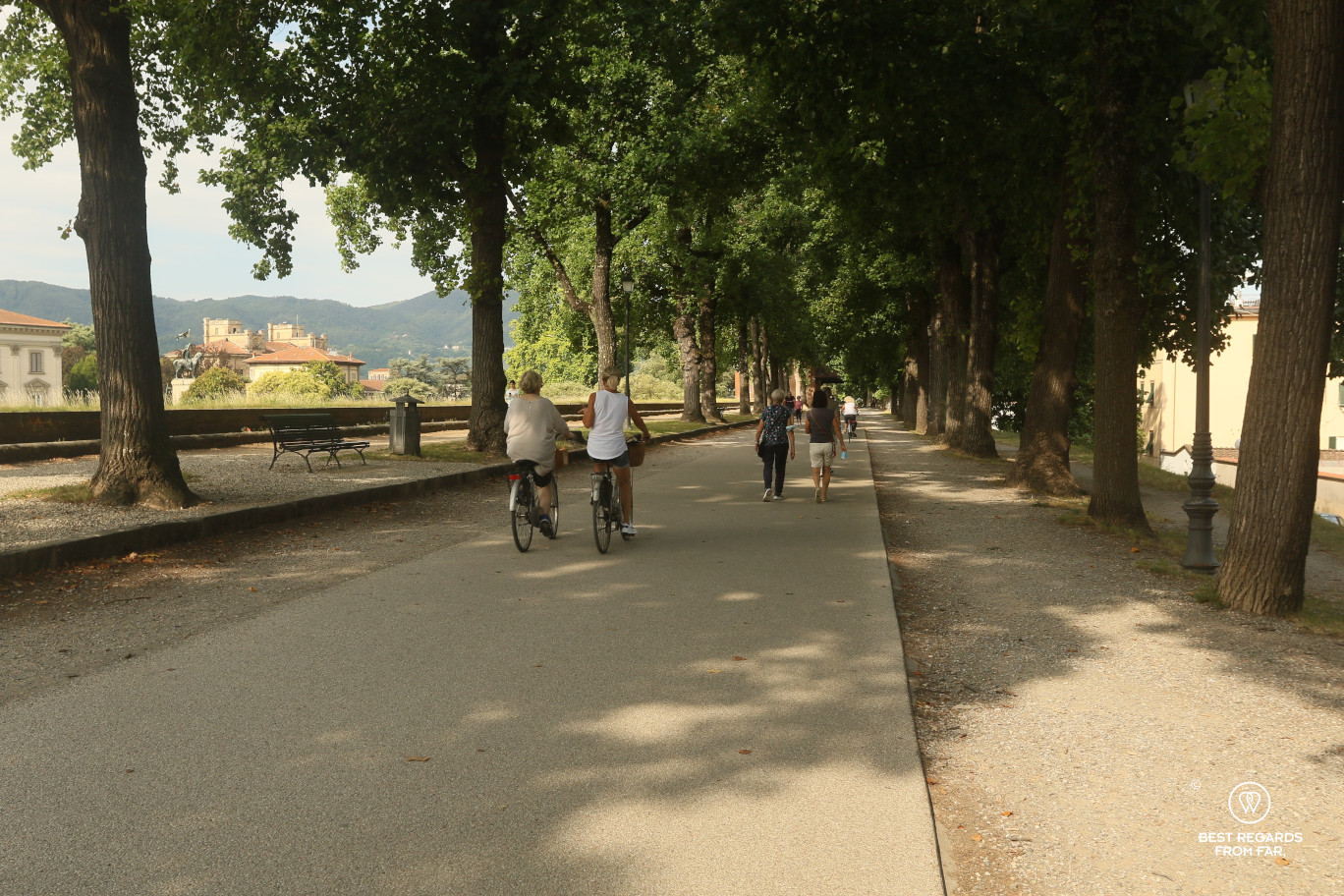 Two people biking and two people walking on the city walls of Lucca