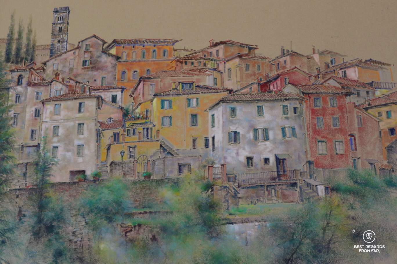A painting of Barga, Italy.
