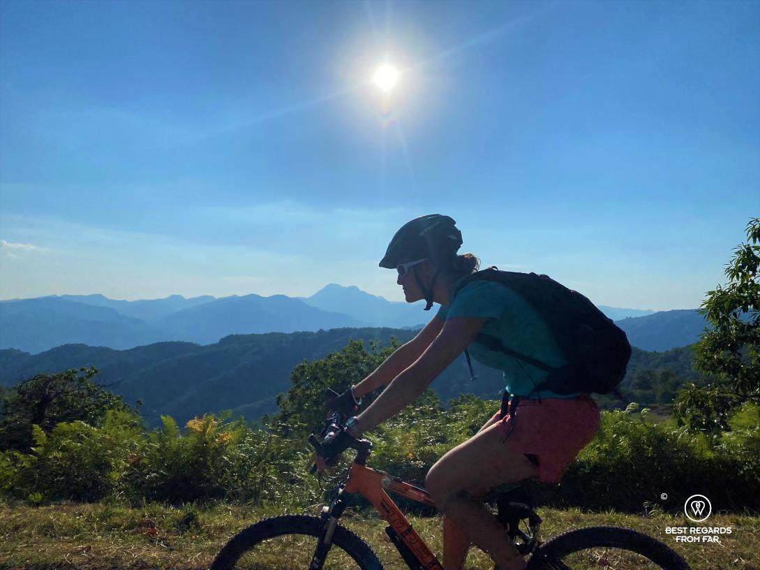 Mountain biking to the Pelago Canyon by Bagni di Lucca, Italy.