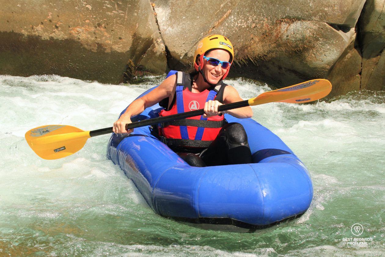 Pack rafting the white waters around Bagni di Lucca, Tuscany, Italy.