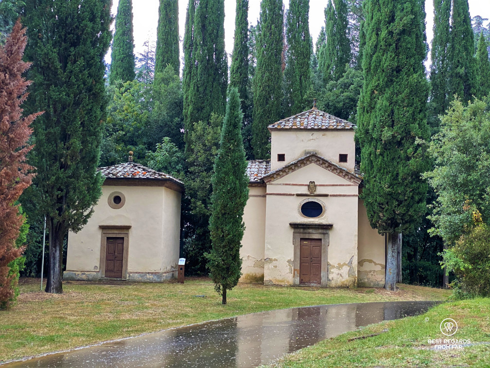 A couple of chapels of the religious complex of San Vivaldo, Tuscany, Italy