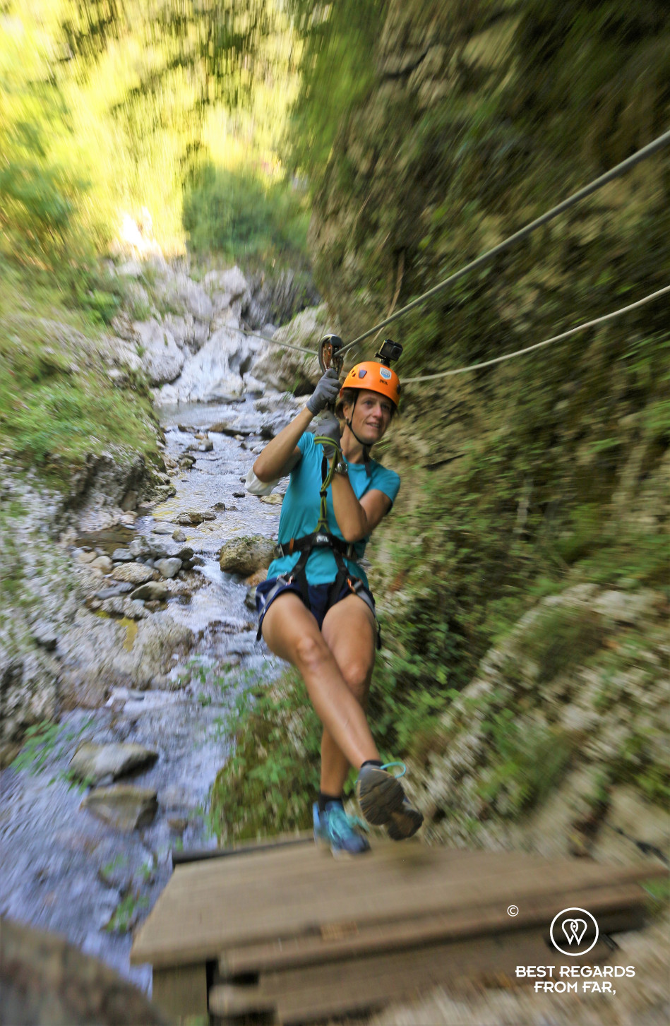 Zip lining above the Lima Canyon by Bagni di Lucca, Italy.