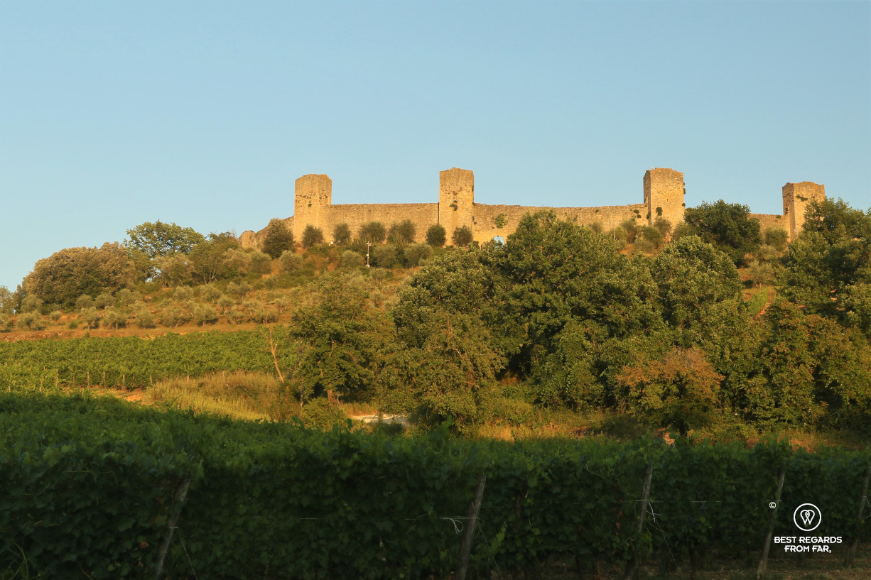 The fortified medieval wall of Monteriggioni, Tuscany, Italy