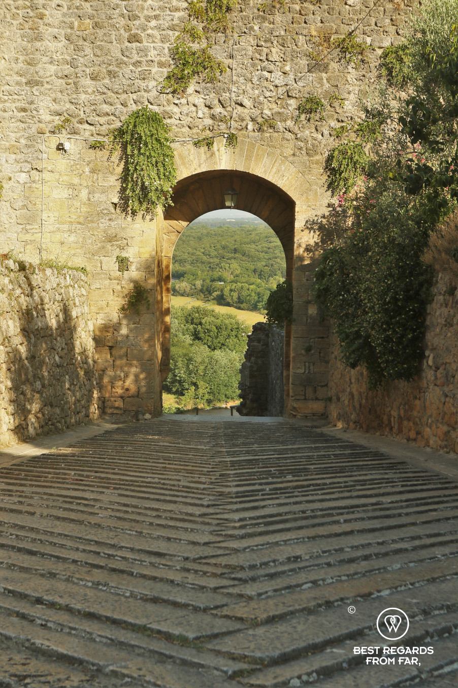 A medieval gate of Monteriggioni, Tuscany, Italy