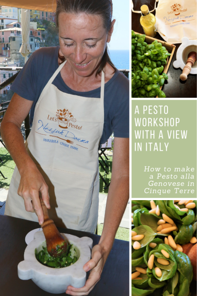 Woman making fresh pesto in Cinque Terre, Italy