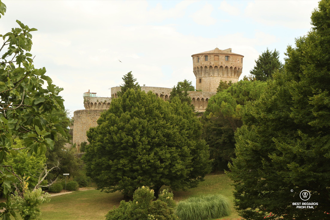 The castle of Volterra overlooking a park, Tuscany, Italy