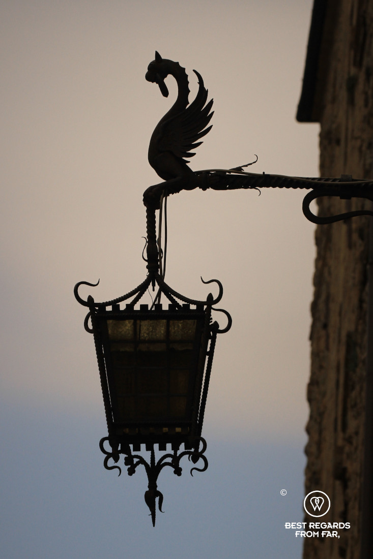 Close up of an old lamp post in Volterra, Tuscany, Italy