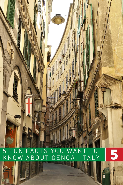 Narrow pedestrian street in Genoa, Italy