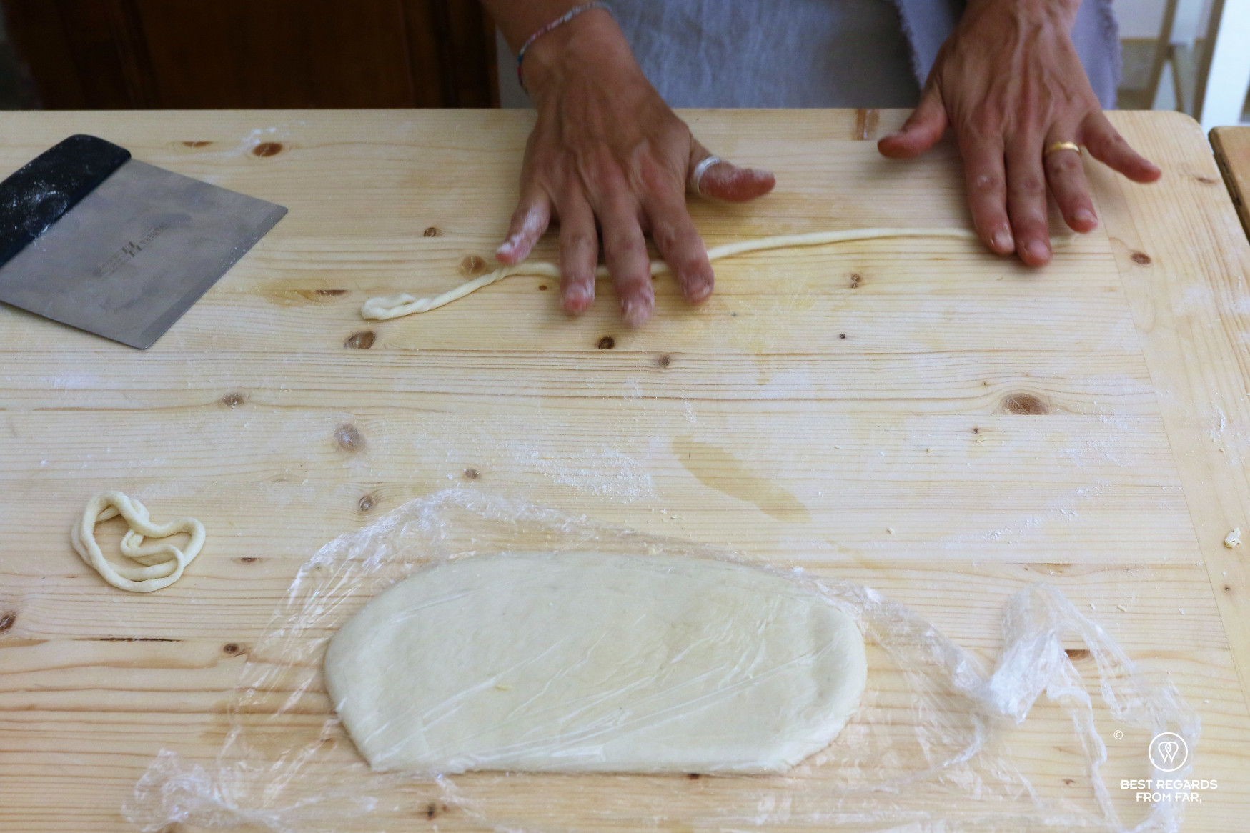 Hand rolling pici pasta, Marta's cooking classes, Siena, Italy