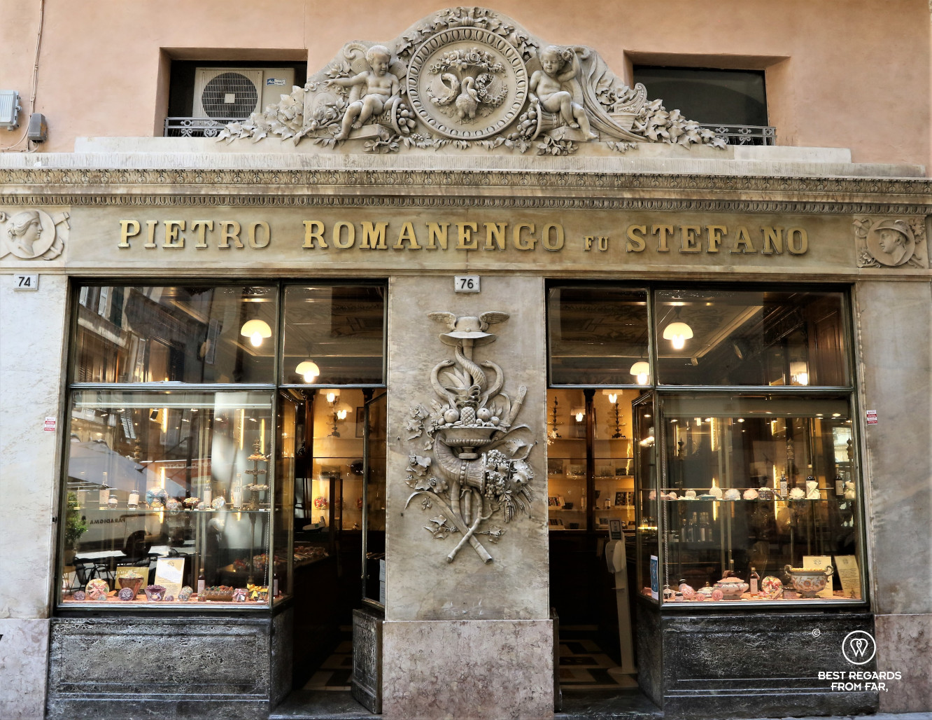 The beautiful facade of the store that dates to 1814, Pietro Romanencgo, Genoa, Italy