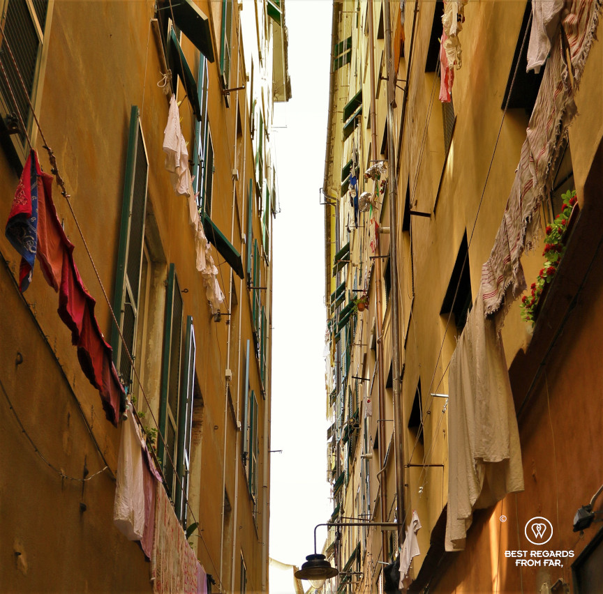 Laundry handing in the small streets of Genoa, Liguria, Italy