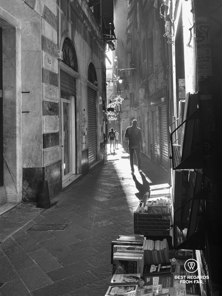 The narrow alleys of Genoa, Liguria, Italy