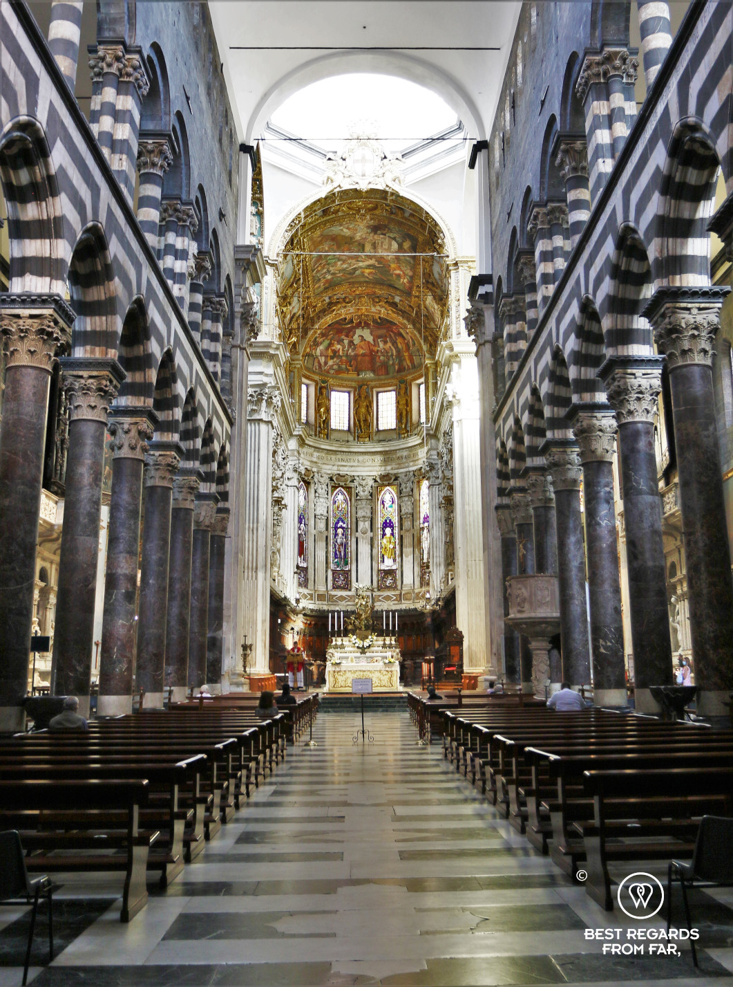 The majestic interior of the San Lorenzo Cathedral, Genoa, Liguria, Italy