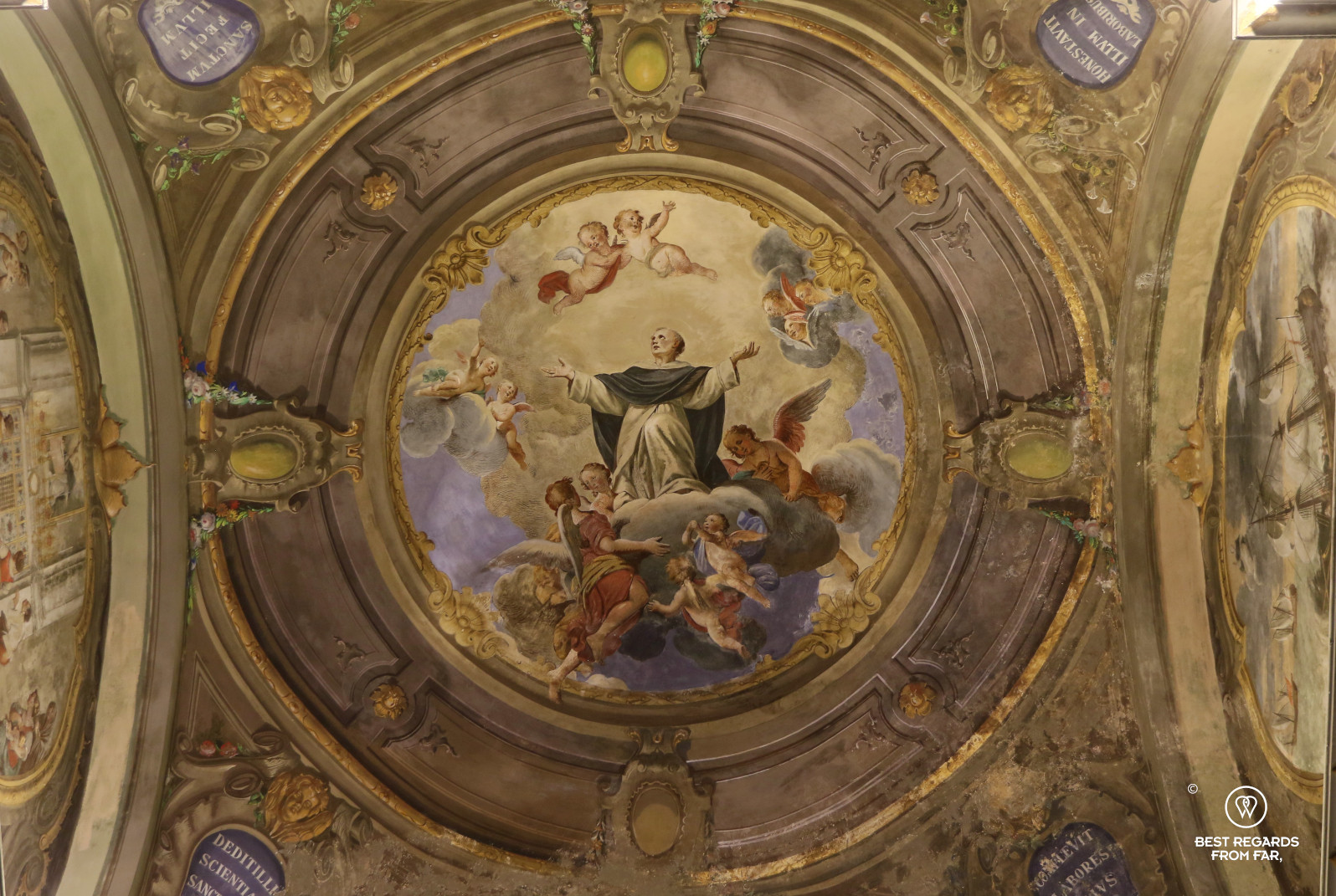 Wonderful art at the church of Santa Maria di Castello in Genoa, Liguria, Italy