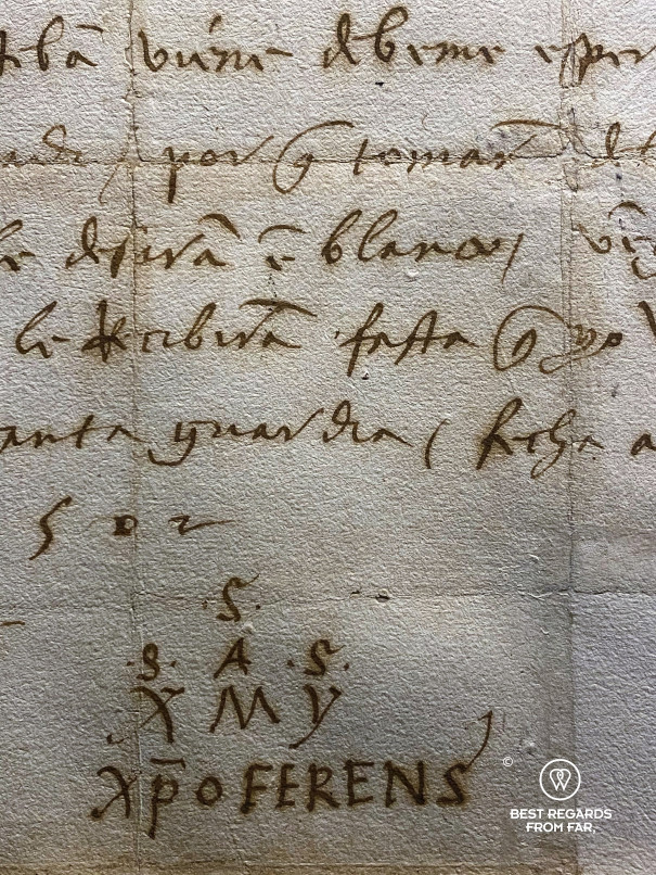 Signature of Christopher Columbus at the Galata Museo del Mare in Genoa