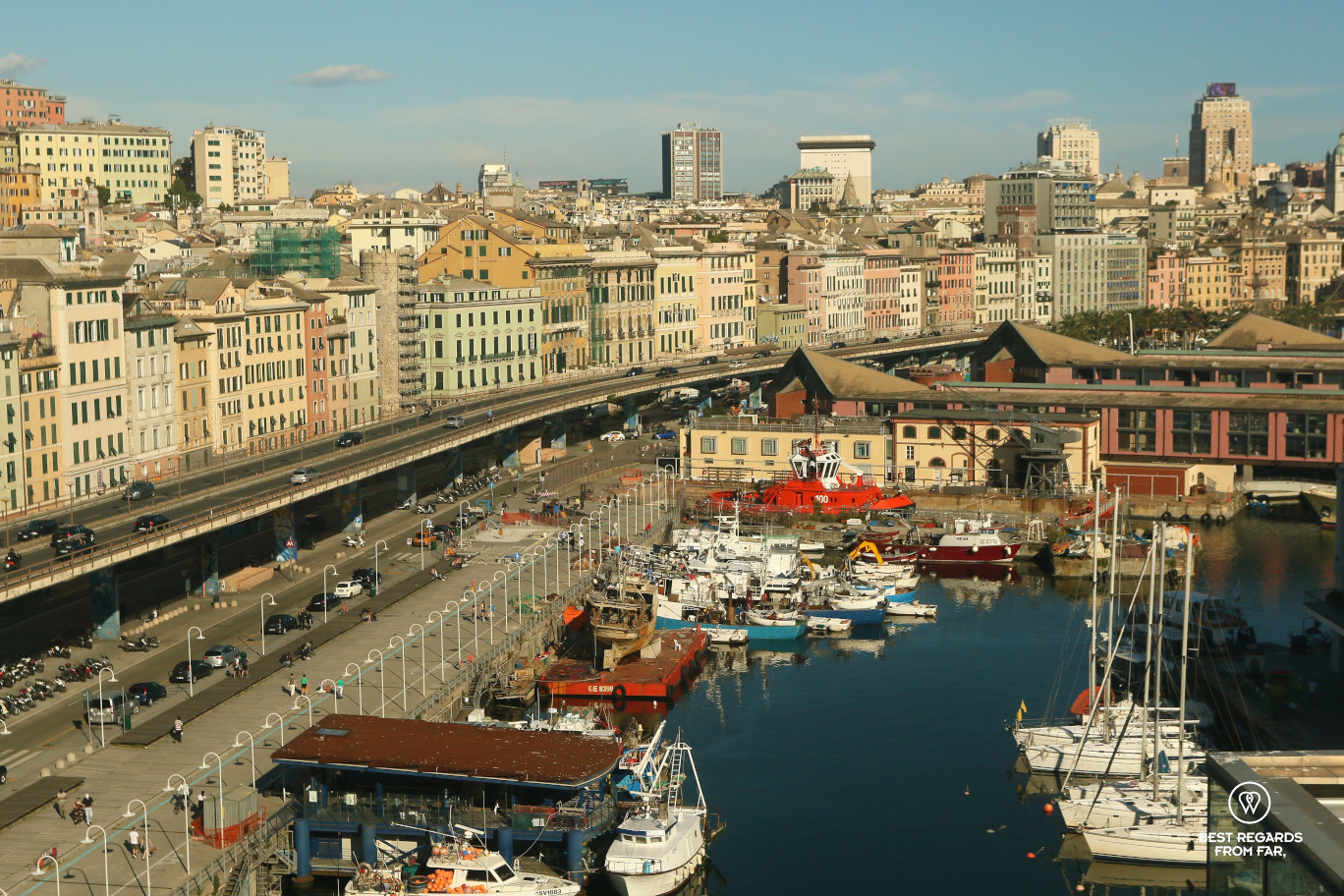 Panoramic view from the rooftop of the maritime museum, Genoa