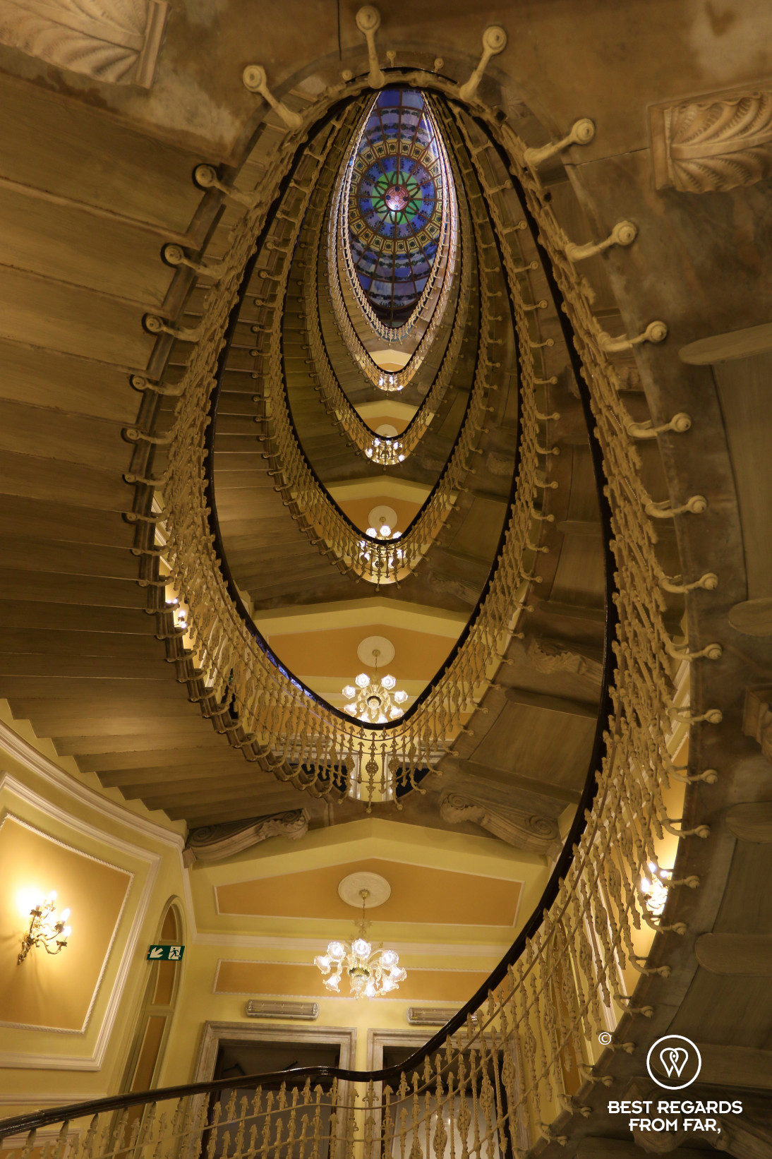 The beautiful spiral staircase of the Hotel Bristol Palace, Genoa, Liguria, Italy