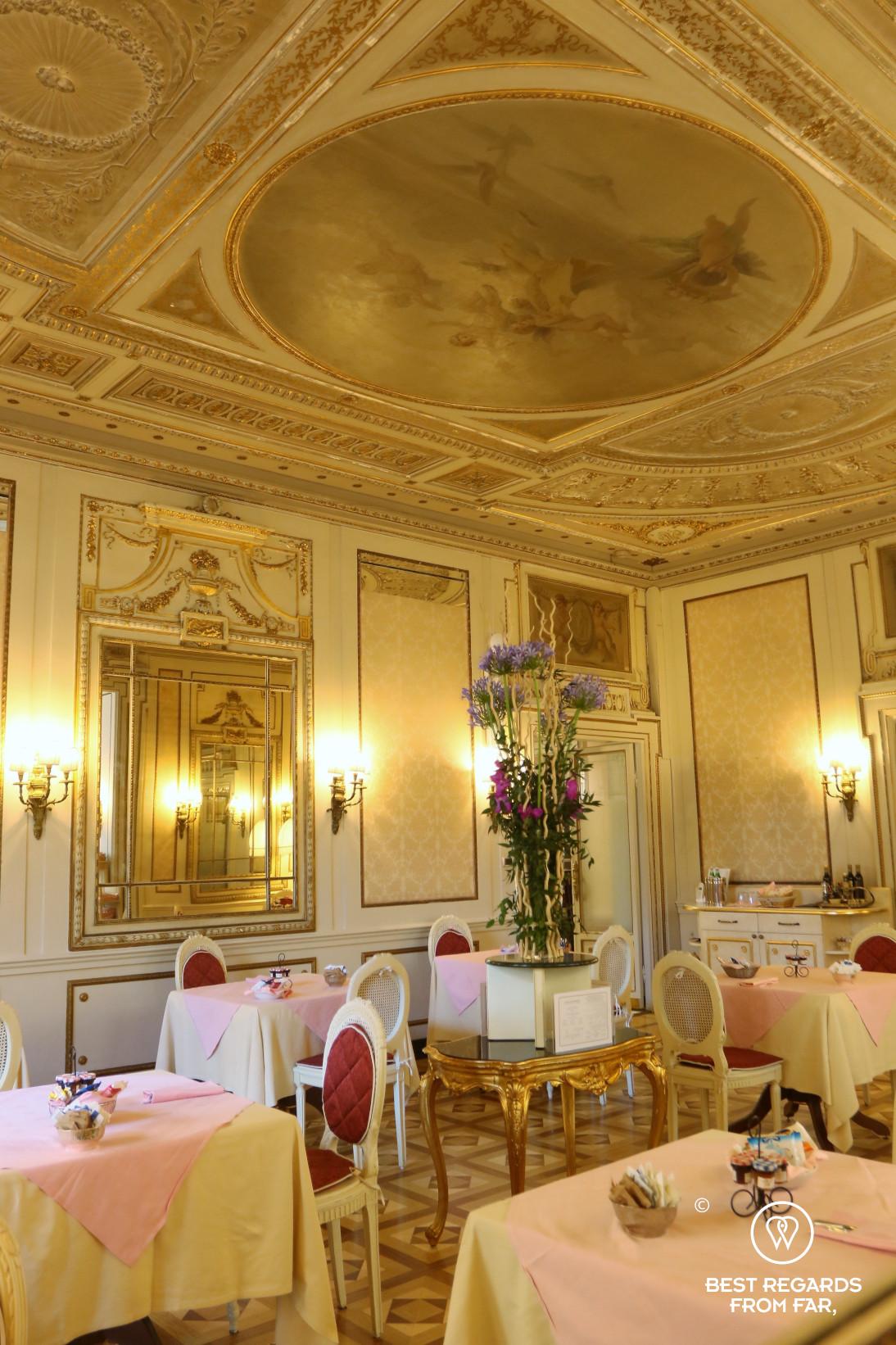 Breakfast room with frescos, Hotel Bristol Palace, Genoa, Liguria, Italy