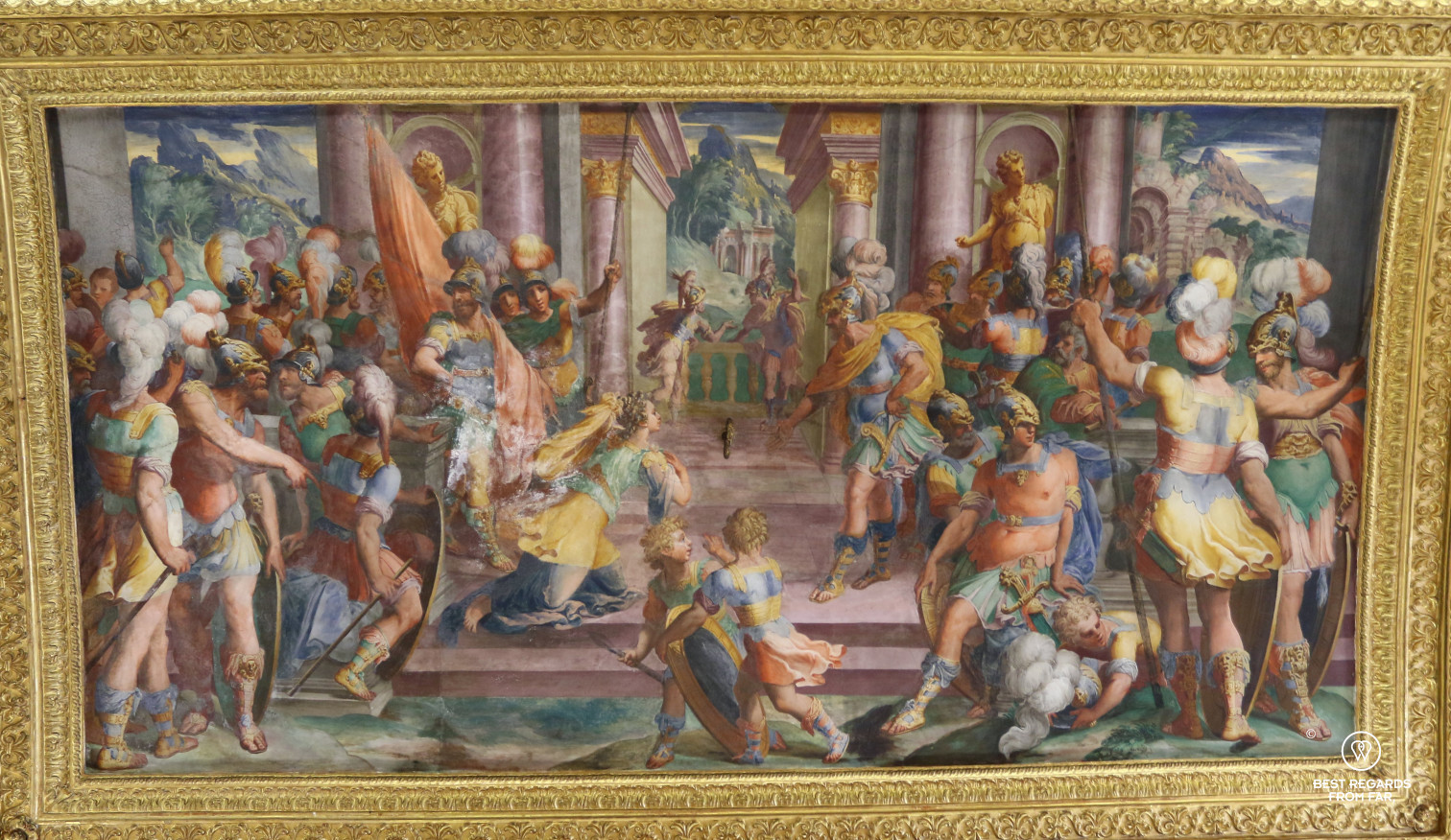 Rare fresco at the Palazzo Baldassarre Lomellini liftyle store on Via Garibaldi, Genoa, Liguria, Italy