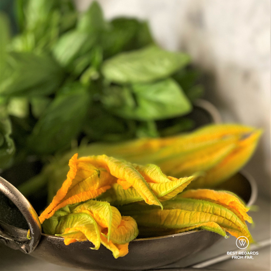 Organge zucchini flowers in a pan with basil at the background.