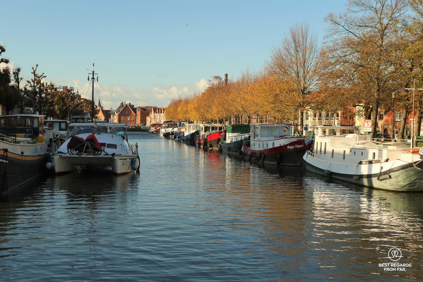 The coupure or the harbour of Bruges with its house boats.