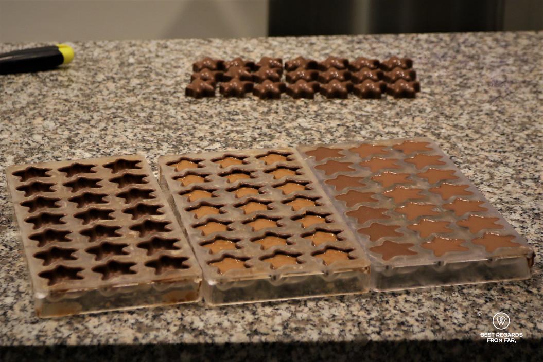 Chocolates being made, Bruges, Belgium