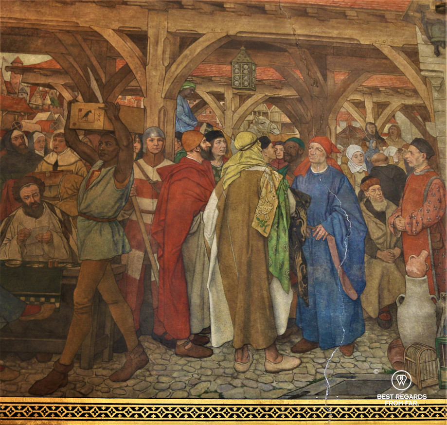 Colourful fresco showing people trading during the medieval times