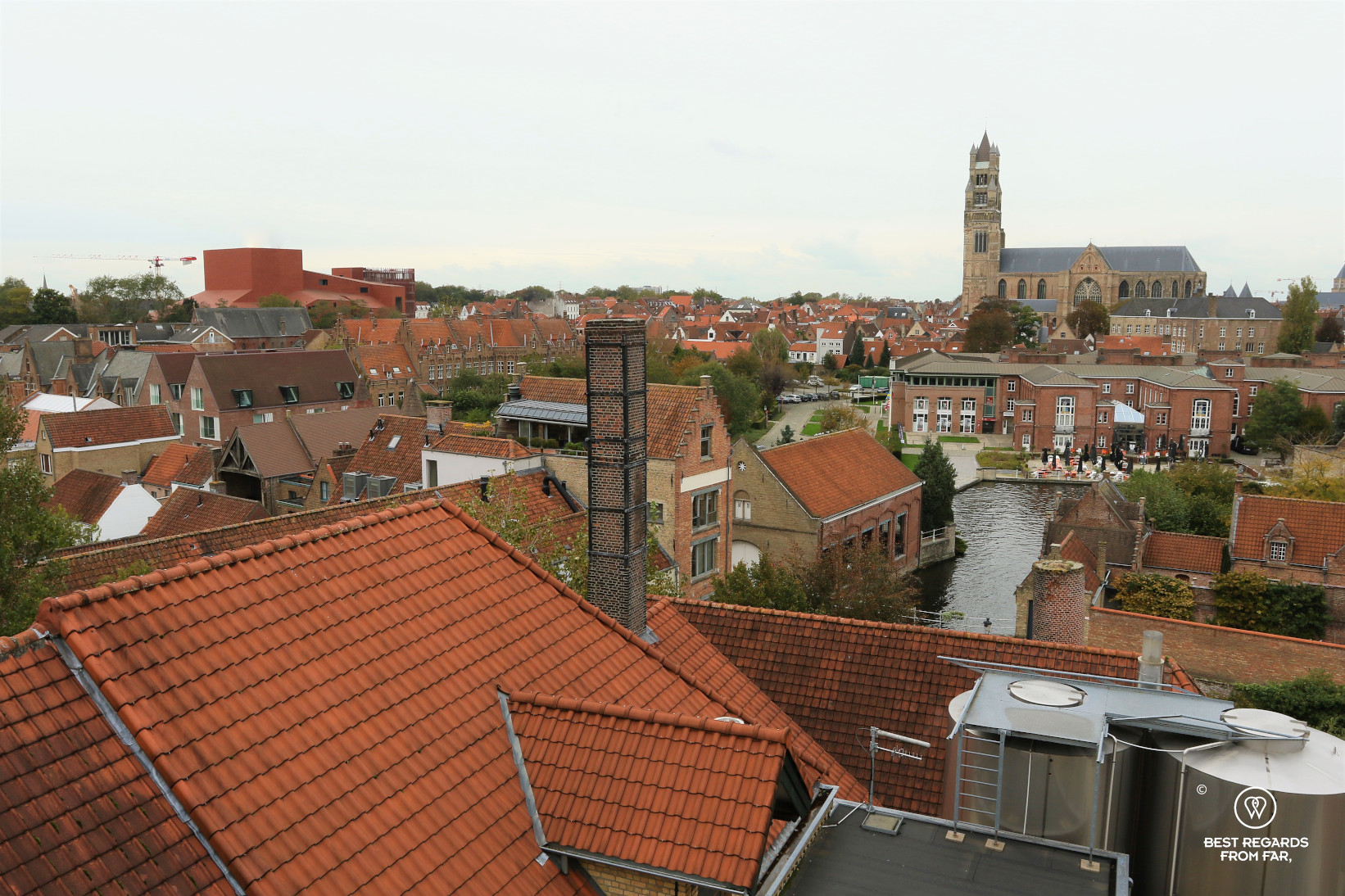 View on Bruges from the brewery The Halve Maan, Bruges, Belgium